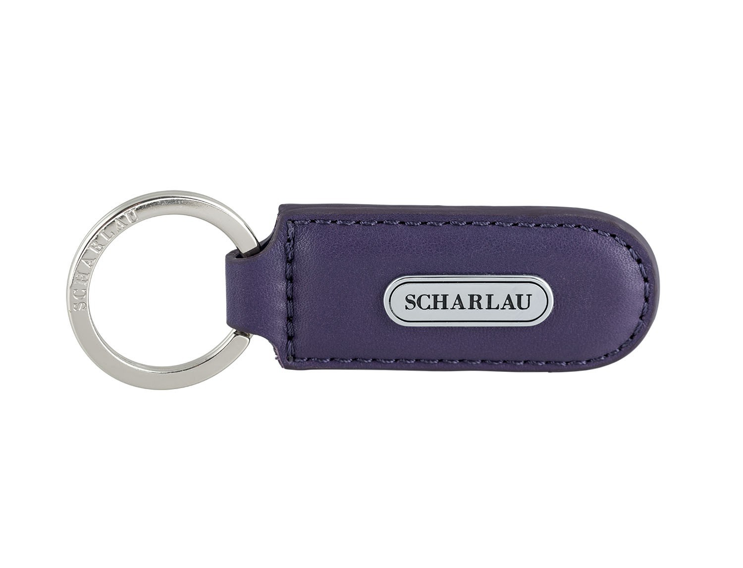 Leather elongate keyring in Lila front