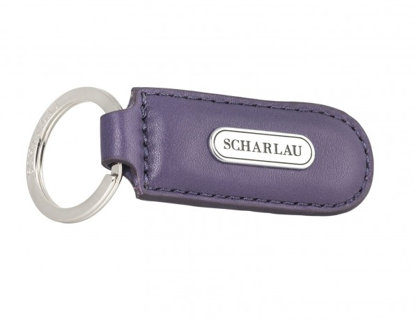 Leather elongate keyring in Lila side