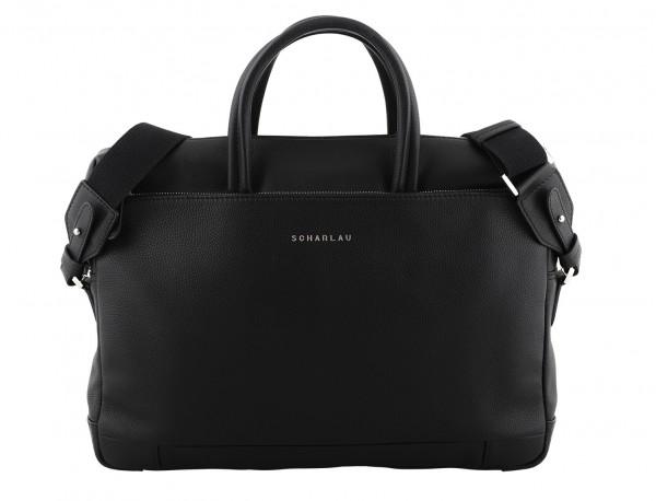 leather briefbag in black front