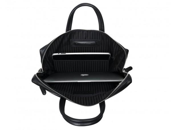 leather briefbag in black laptop