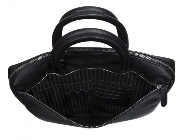 maletín de cuero negro  interior