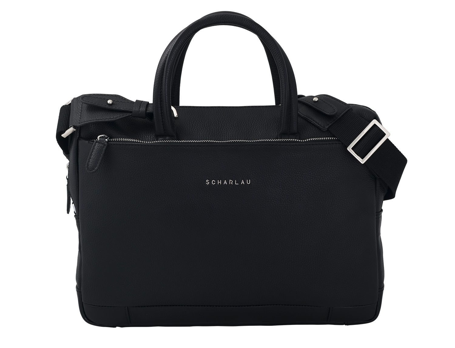 small leather briefcase in black front