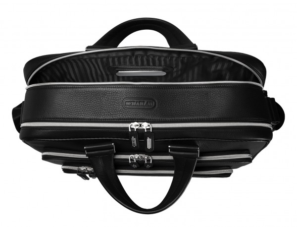 leather black briefcase for men in black metal plate