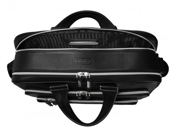 maletin de cuero personalizado negro grande de hombre interior placa