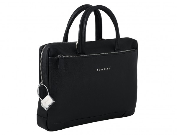 small leather briefcase in black  side