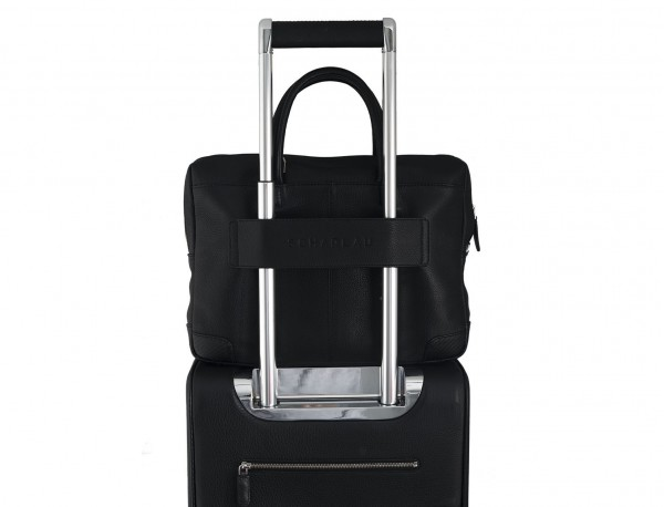 small leather briefcase in black trolley