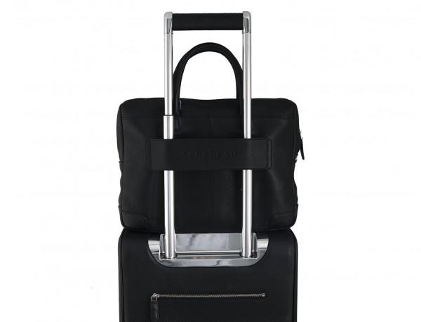 maletín de cuero pequeño en negro trolley