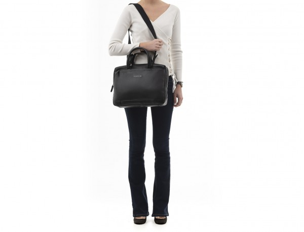 small leather briefcase in black model