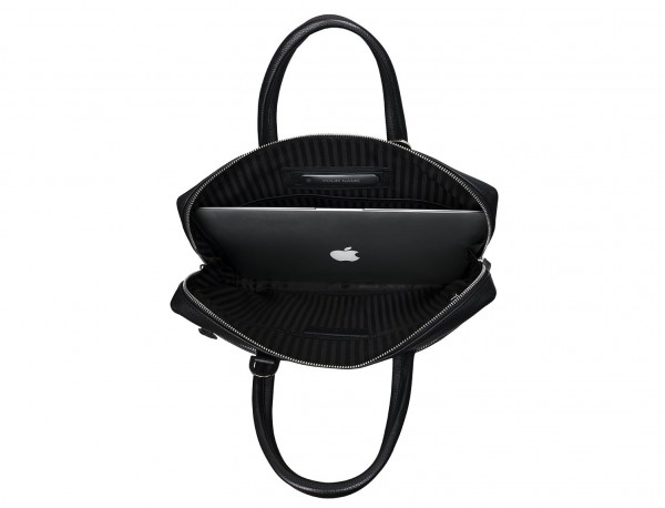 small leather briefcase in black laptop