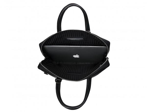maletín de cuero pequeño en negro ordenador