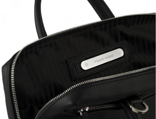 small leather briefcase in black  personalized