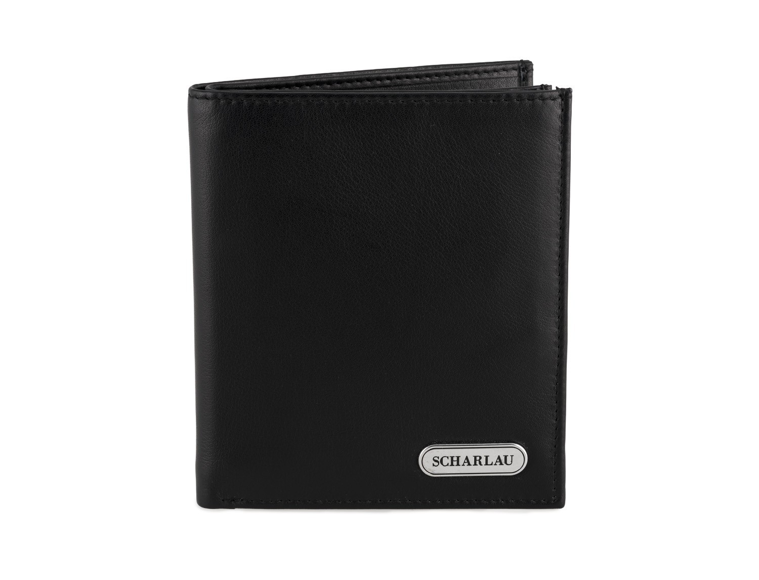 Men's Black Leather Wallet without Coin Purse front