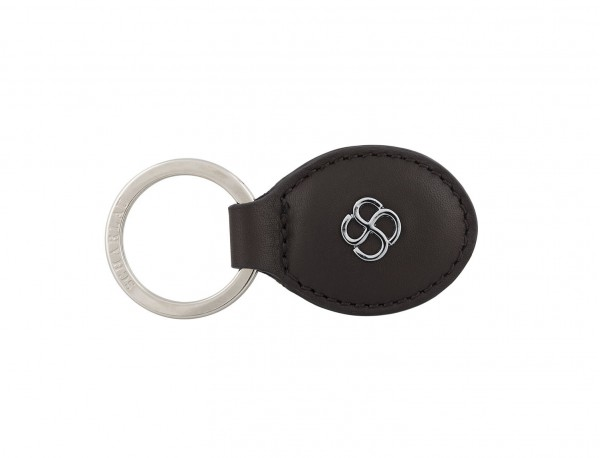 leather oval key ring in brown front