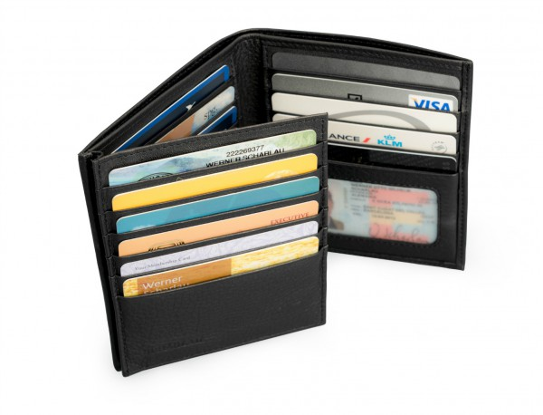 Men's Black Leather Wallet without Coin Purse inside