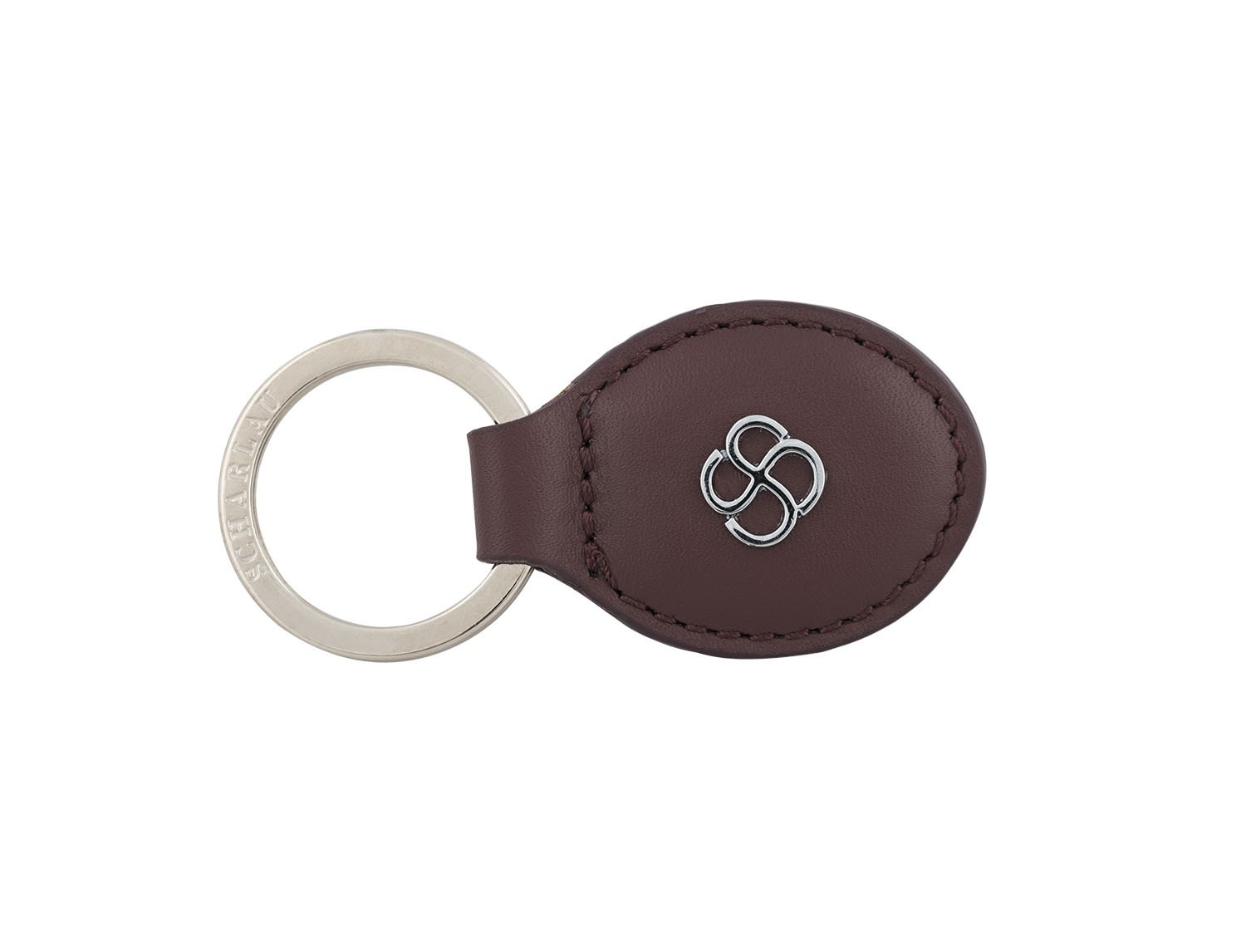 leather oval key ring in burgundy front