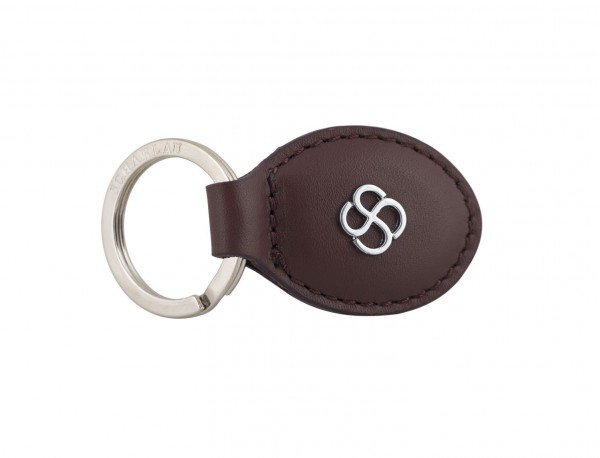 leather oval key ring in burgundy side