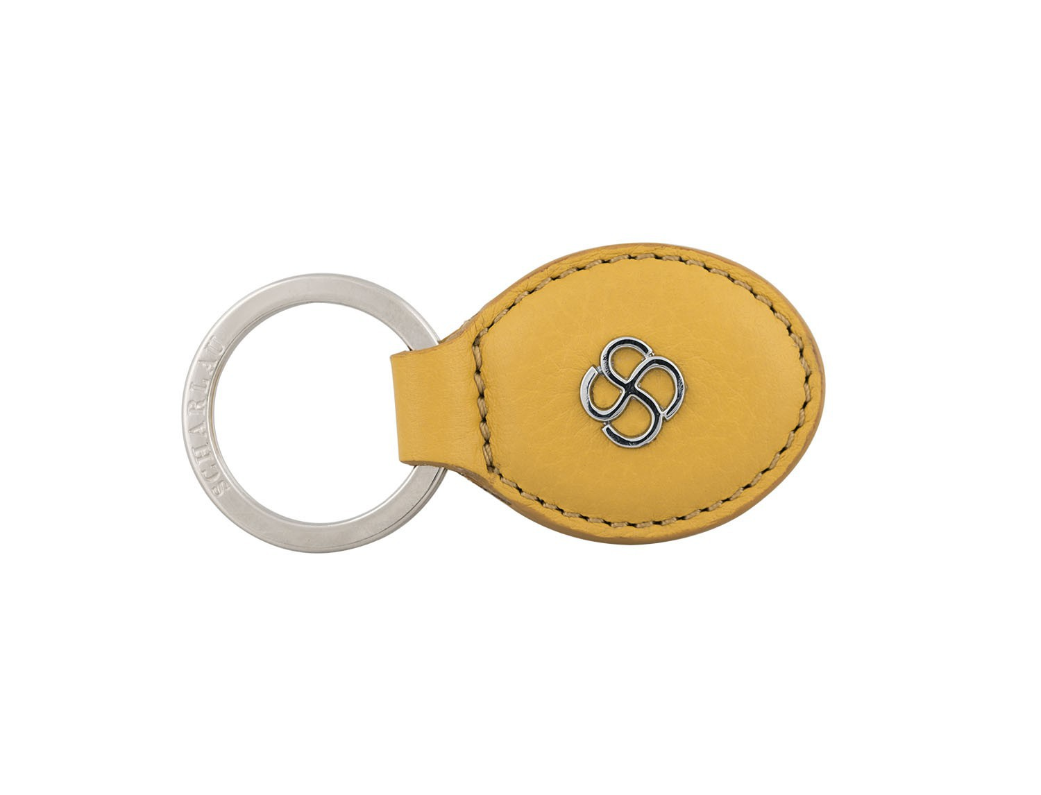 leather oval key ring in yellow front
