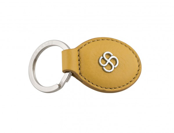leather oval key ring in yellow side