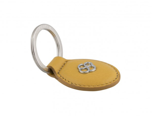 leather oval key ring in yellow back