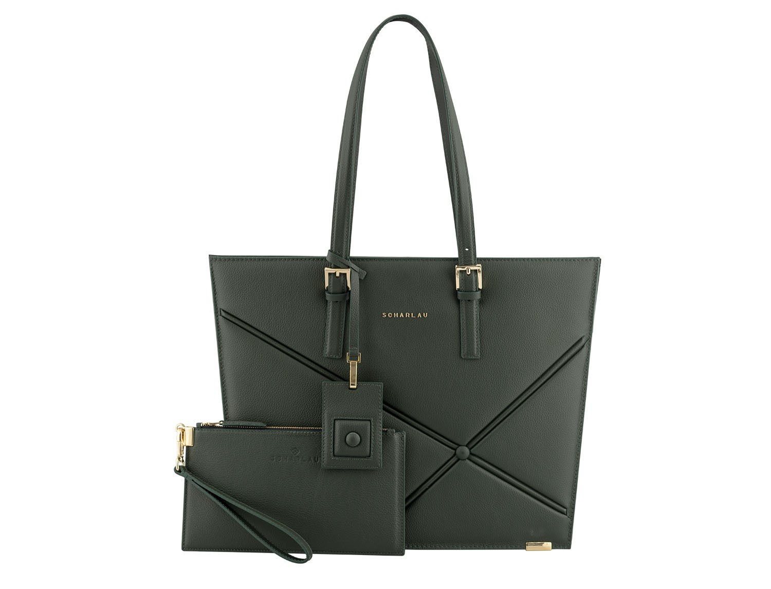 leather women laptop bag in green front