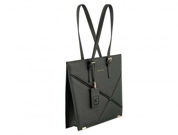 leather women laptop bag in green side