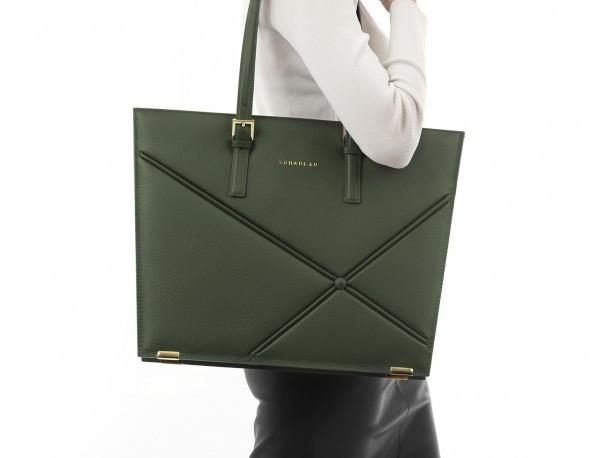 leather women laptop bag in green model