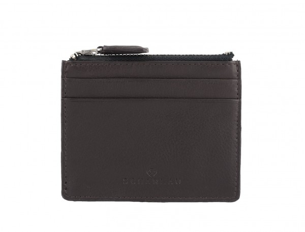 leather card holder brown front