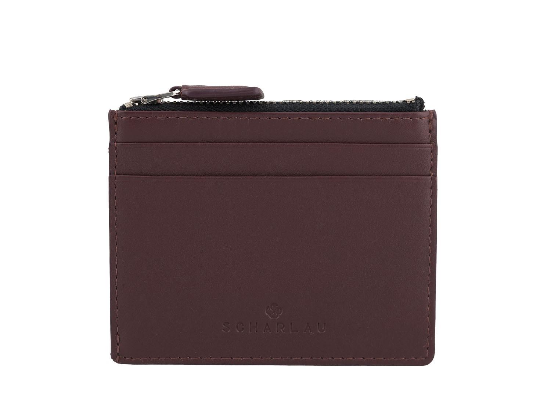 leather card holder burgundy front