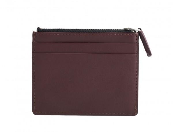 leather card holder burgundy back