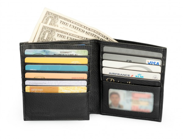 Men's Black Leather Wallet without Coin Purse