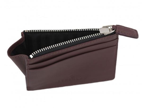 leather card holder burgundy inside