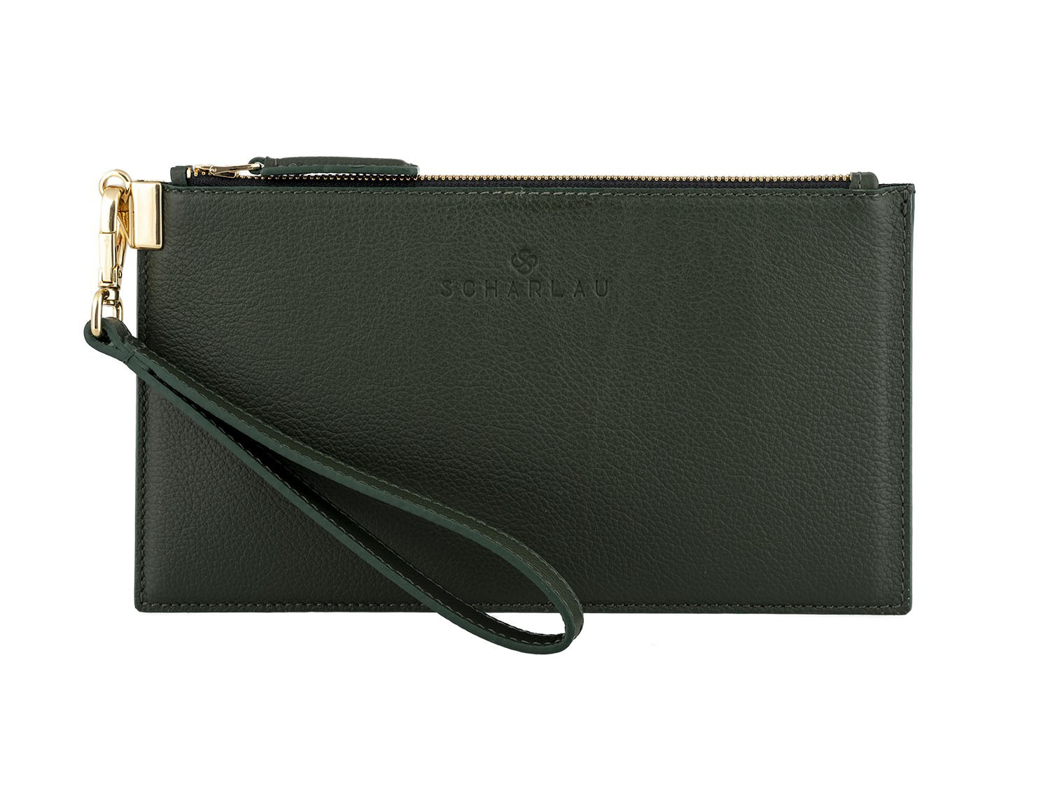 women's leather evening bag in green front