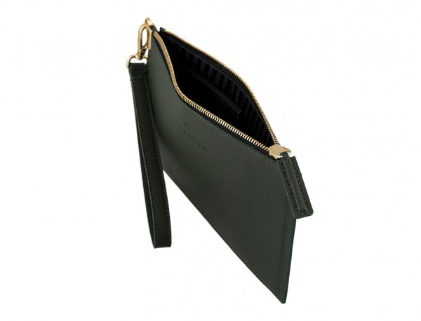 women's leather evening bag in green inside