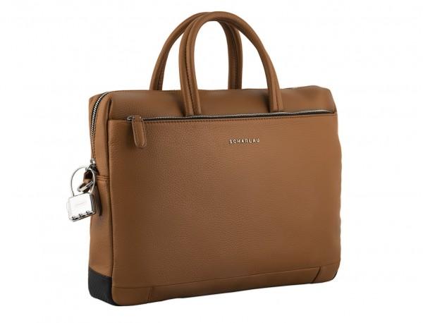 leather briefbag in camel side