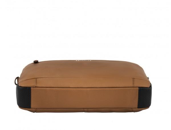 leather briefbag in camel base
