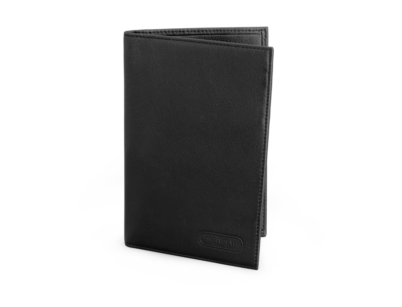 cartera para pasaporte de cuero en negro frontal