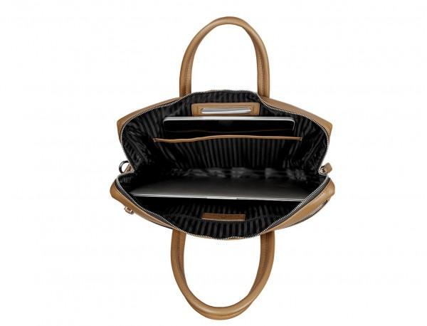 leather briefbag in camel  laptop