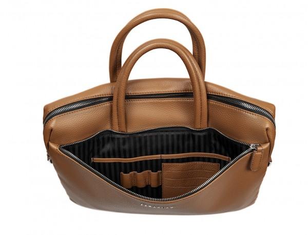 leather briefbag in camel inside