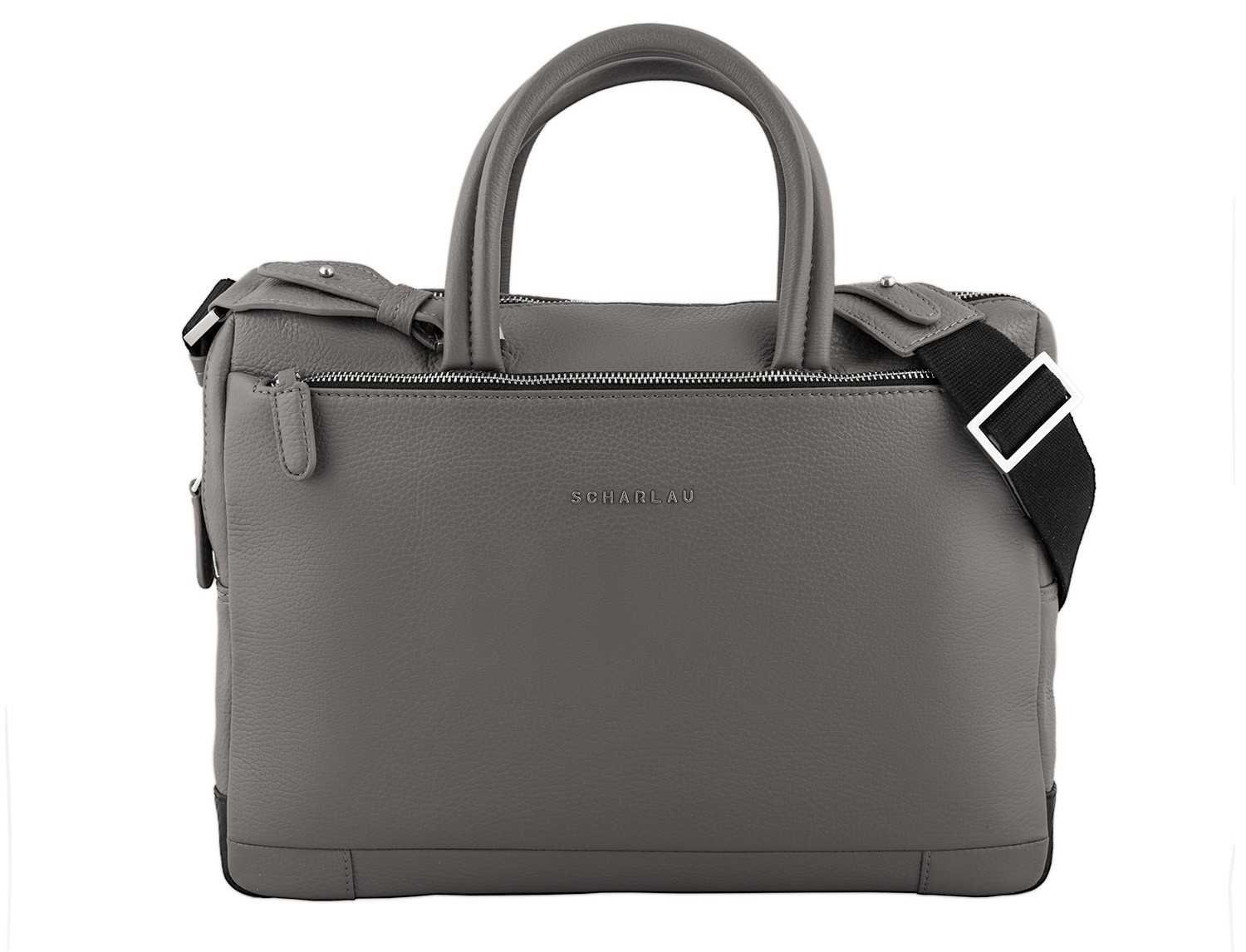 small leather briefcase in gray front