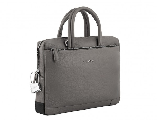 small leather briefcase in gray side