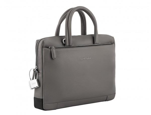 maletín de cuero pequeño en gris lado