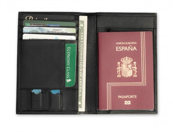 cartera para pasaporte de cuero en negro abierto