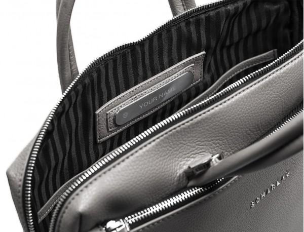 maletín de cuero pequeño en gris personalizado