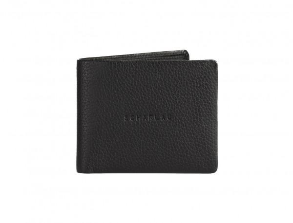 Portafoglio orizzontale con portamonete in pelle nero logo