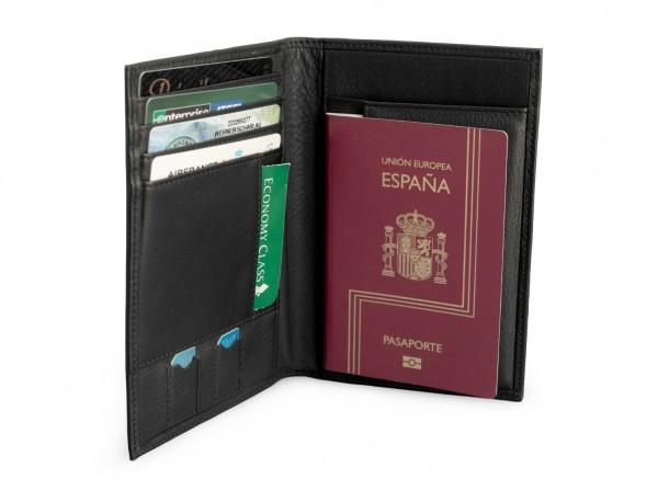 cartera para pasaporte de cuero en negro