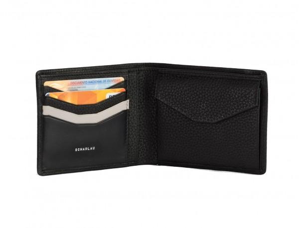 Portafoglio orizzontale con portamonete in pelle nero cards