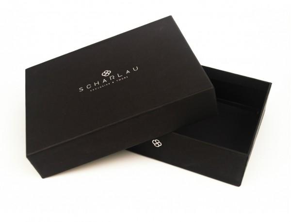 Portafoglio orizzontale con portamonete in pelle nero packaging