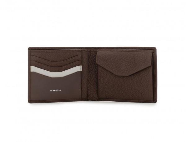 Portafoglio orizzontale con portamonete in pelle marrone open