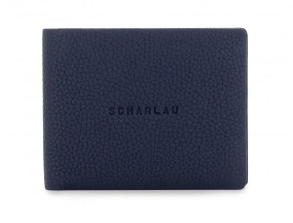 billetero de cuero azul front