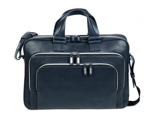 borsa da lavoro in pelle blu per uomo e donna front